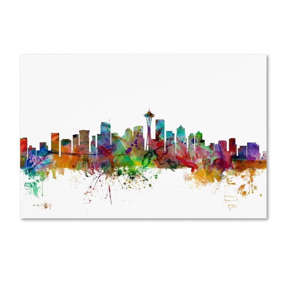 Trademark Fine Art Michael Tompsett Seattle Washington Skyline 16x24 Canvas Art In The Wall Art Department At Lowes Com