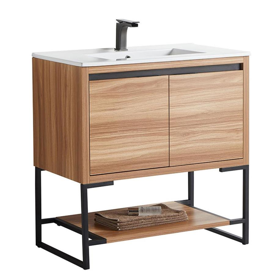 Casainc 36 In Maple Undermount Single Sink Bathroom Vanity With White Ceramic Top In The Bathroom Vanities With Tops Department At Lowes Com