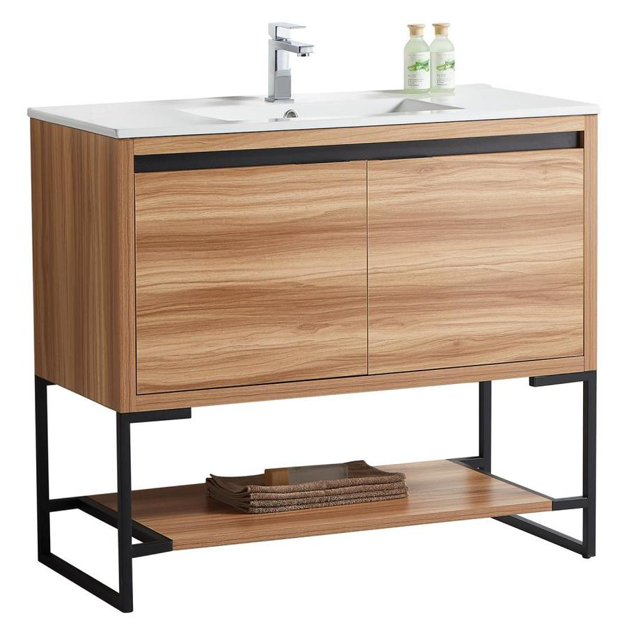 Casainc 40 In Maple Undermount Single Sink Bathroom Vanity With White Ceramic Top In The Bathroom Vanities With Tops Department At Lowes Com