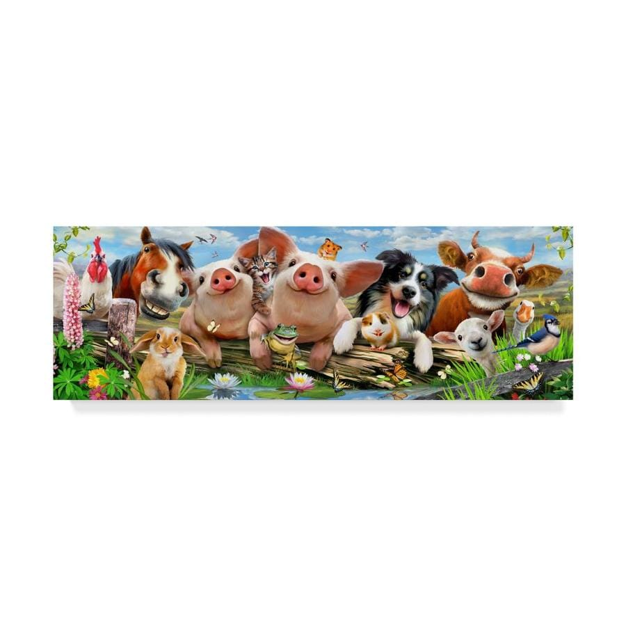 Trademark Fine Art Howard Robinson Happy Farm Animals 16x47 Canvas Art In The Wall Art Department At Lowes Com