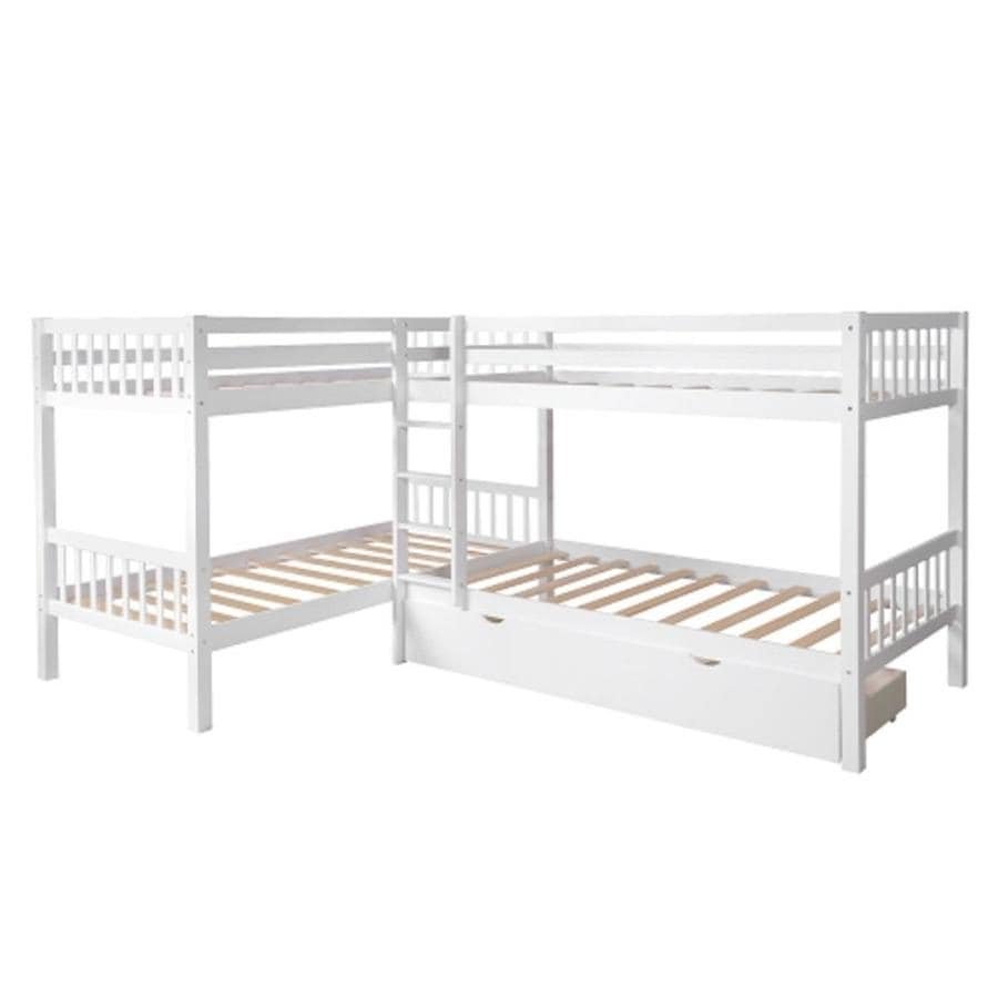 Casainc Twin L Shaped Bunk Bed With Drawers White Twin Over Twin Bunk Bed In The Bunk Beds Department At Lowes Com