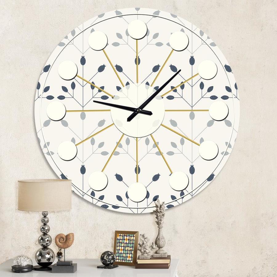 Designart Designart Floral Retro Botanical Pattern I Mid Century Modern Wall Clock In The Clocks Department At Lowes Com