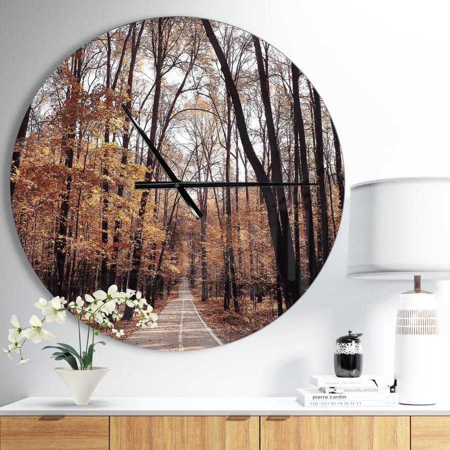 Designart Designart Road In Autumn Golden Forest Modern Wall Clock In The Clocks Department At Lowes Com