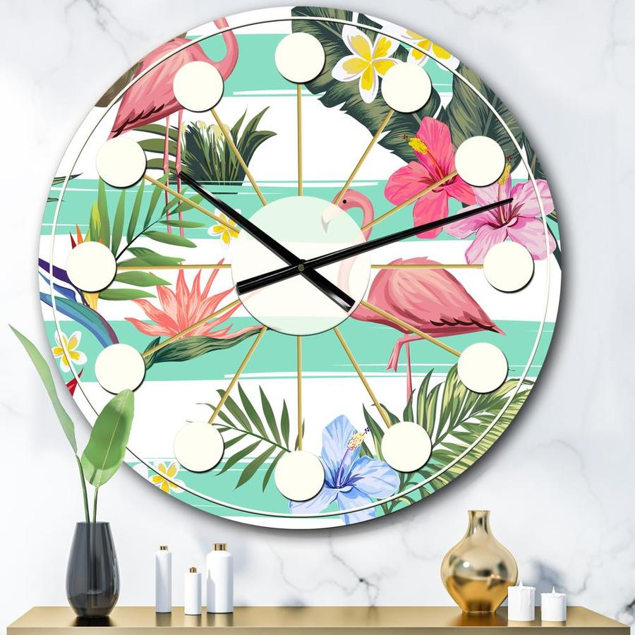 Designart Designart Tropical Botanicals Flowers And Flamingo Mid Century Modern Wall Clock In The Clocks Department At Lowes Com