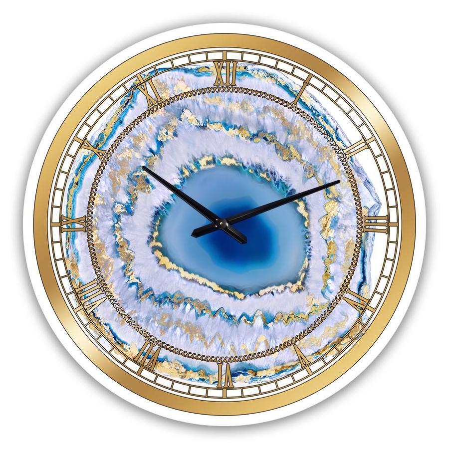 Designart Designart Golden Blue Agate Modern Wall Clock In The Clocks Department At Lowes Com