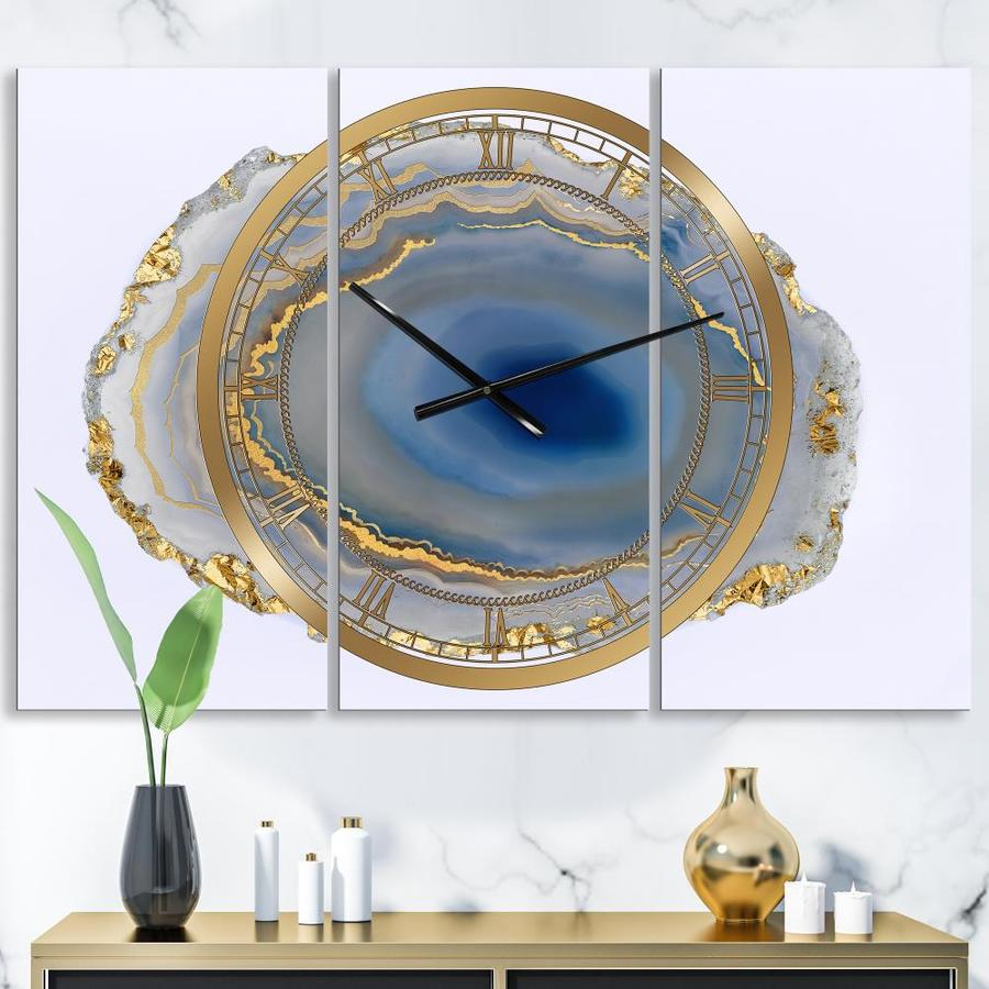 Designart Designart Golden Water Agate Large Fashion 3 Panels Wall Clock In The Clocks Department At Lowes Com