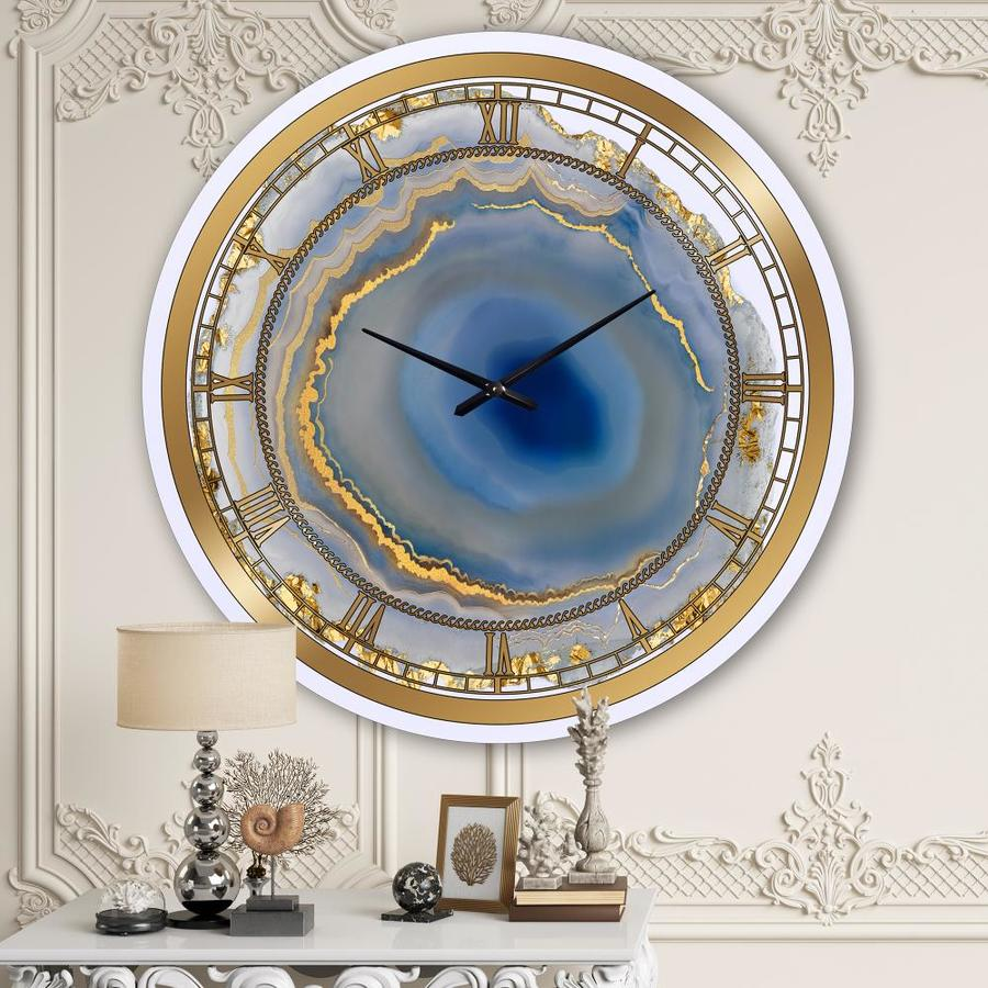Designart Designart Golden Water Agate Oversized Fashion Wall Clock In The Clocks Department At Lowes Com