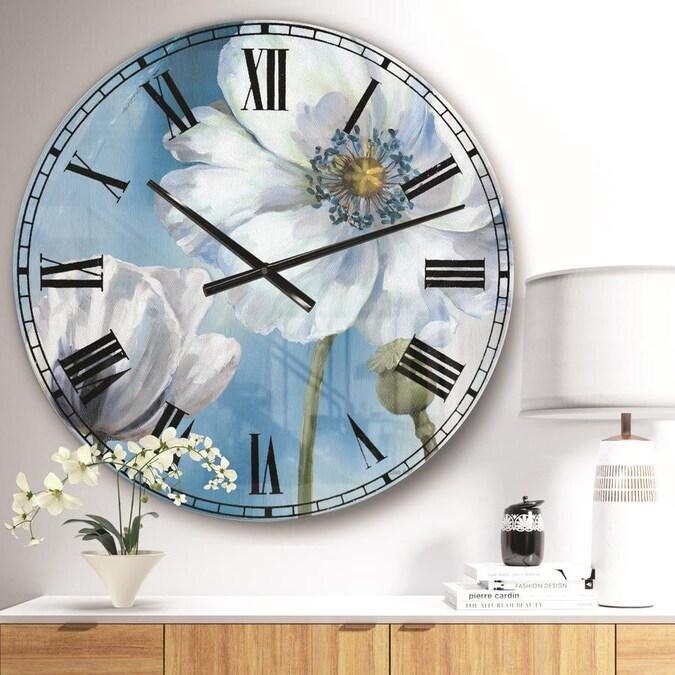White Flowers Wall Clock