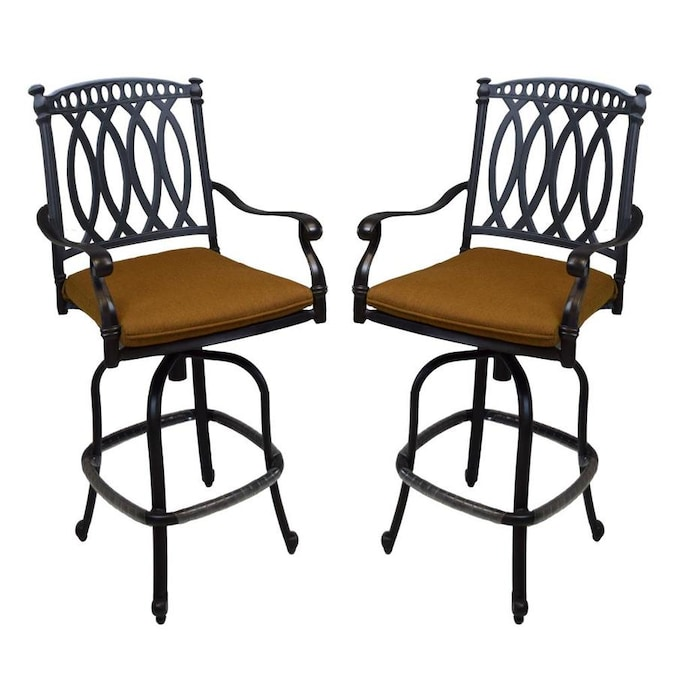 Oakland Living Outdoor Bar Stools Set Of 2 Black Metal Frame Swivel Bar Stool Chair S With Sunbrella Cushioned Seat In The Patio Chairs Department At Lowes Com