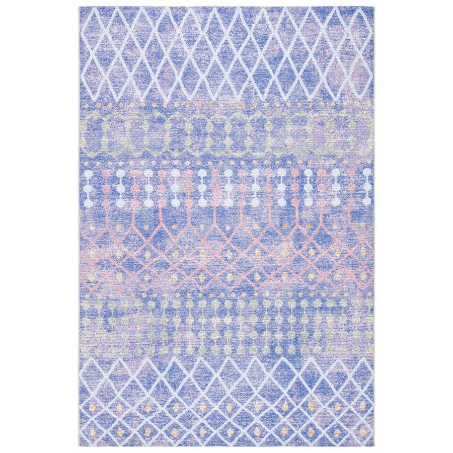Safavieh Summer 5 X 8 Blue Light Blue Indoor Outdoor Abstract Bohemian Eclectic Area Rug In The Rugs Department At Lowes Com
