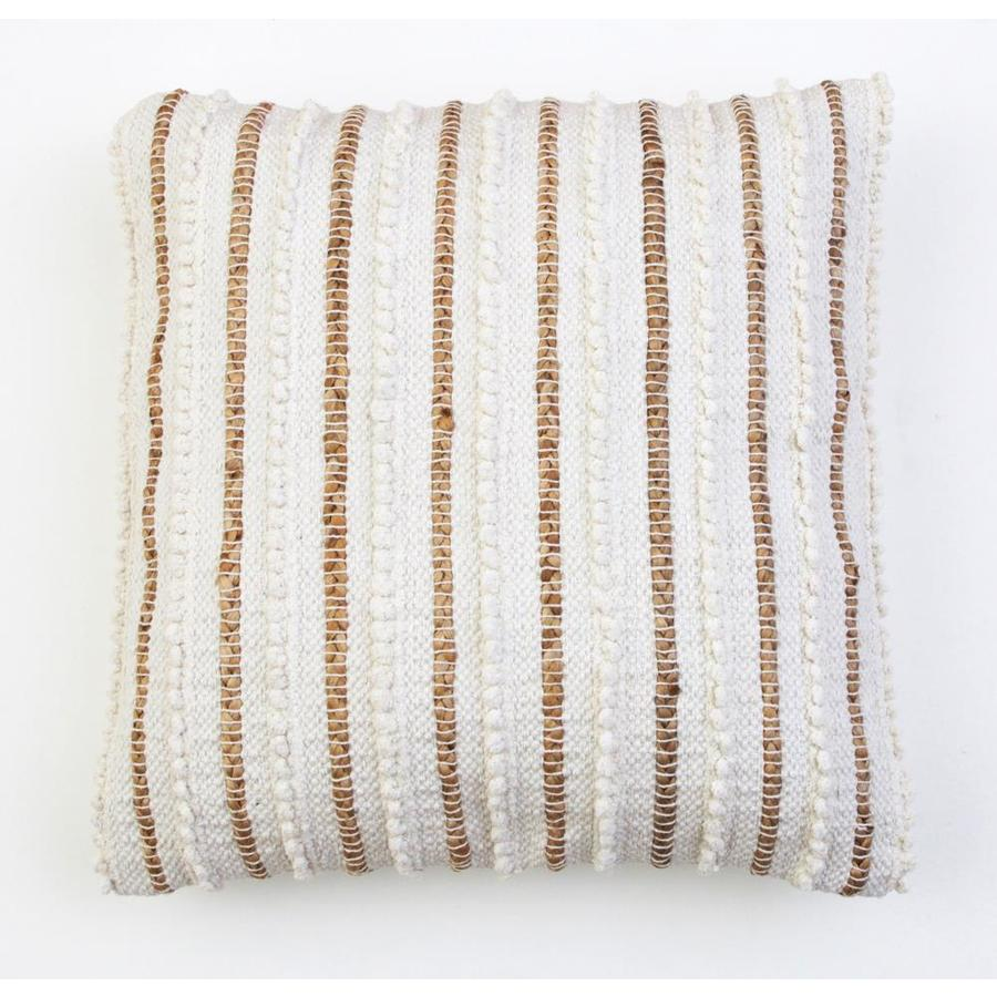 Decor Therapy Thro By Marlo Lorenz 20 In X 20 In Ivory Woven Cotton Blend Square Indoor Decorative Pillow In The Throw Pillows Department At Lowes Com