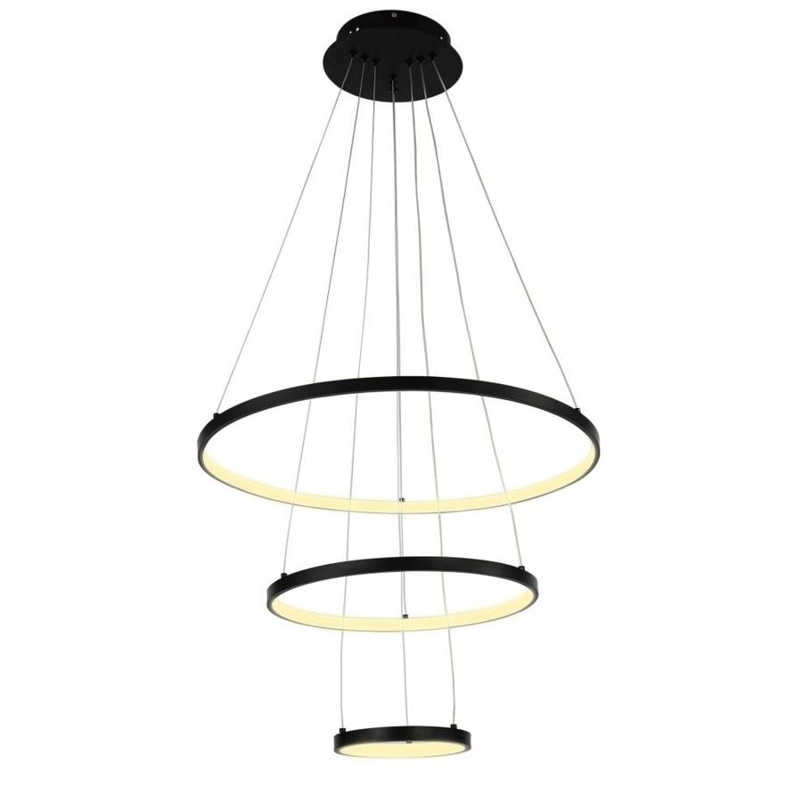 Aiwen 3 Light Unique Tiered Led Chandelier In Black Finish Neutral Light Source 4500k In The Chandeliers Department At Lowes Com