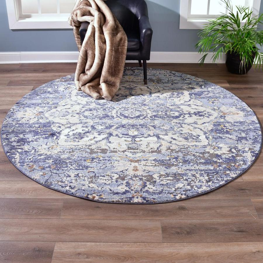 Mda Rugs Cartagena 8 X 8 Blue Tribeige Round Indoor Floral Botanical Area Rug In The Rugs Department At Lowes Com