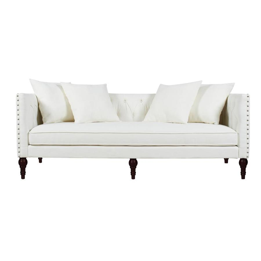 Jennifer Taylor Home Jennifer Taylor Home Stanbury Button Tufted Tuxedo Sofa Antique White Yarn Dyed In The Couches Sofas Loveseats Department At Lowes Com
