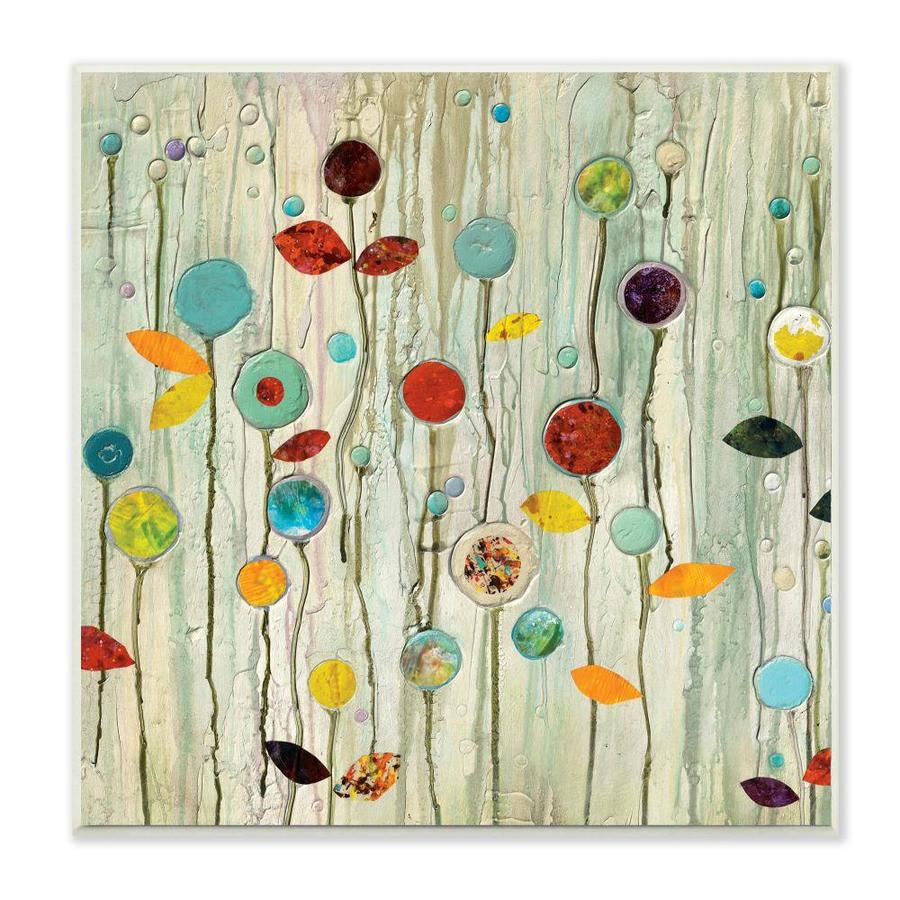 Stupell Industries Stupell Industries Abstract Paint Drop Floral Scene Whimsical Collage Wall Plaque Art By Classic Collection 12 X 0 5 X 12 In The Wall Art Department At Lowes Com