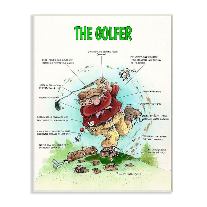 Stupell Industries Stupell Industries The Golfer Funny Golf Cartoon Sports Design Oversized Wall Plaque Art 13 X 1 5 X 19 In The Wall Art Department At Lowes Com