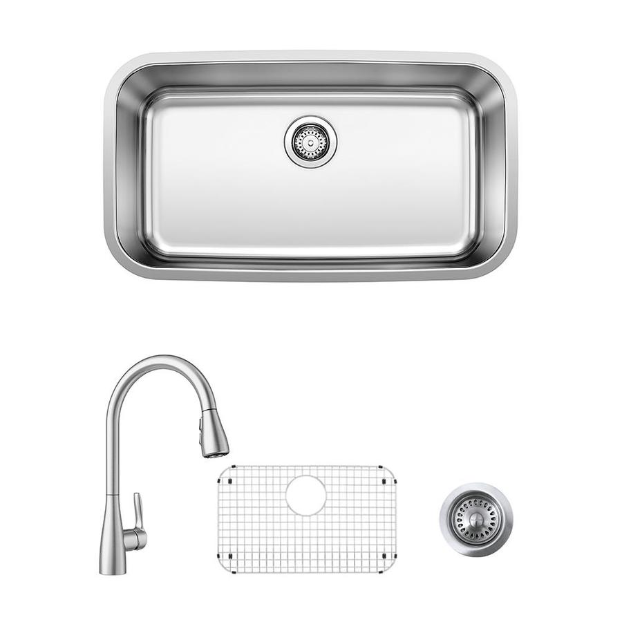 Blanco Stellar Atura Undermount 32 In X 18 In Stainless Single Bowl Corner Install Kitchen Sink All In One Kit In The Kitchen Sinks Department At Lowes Com
