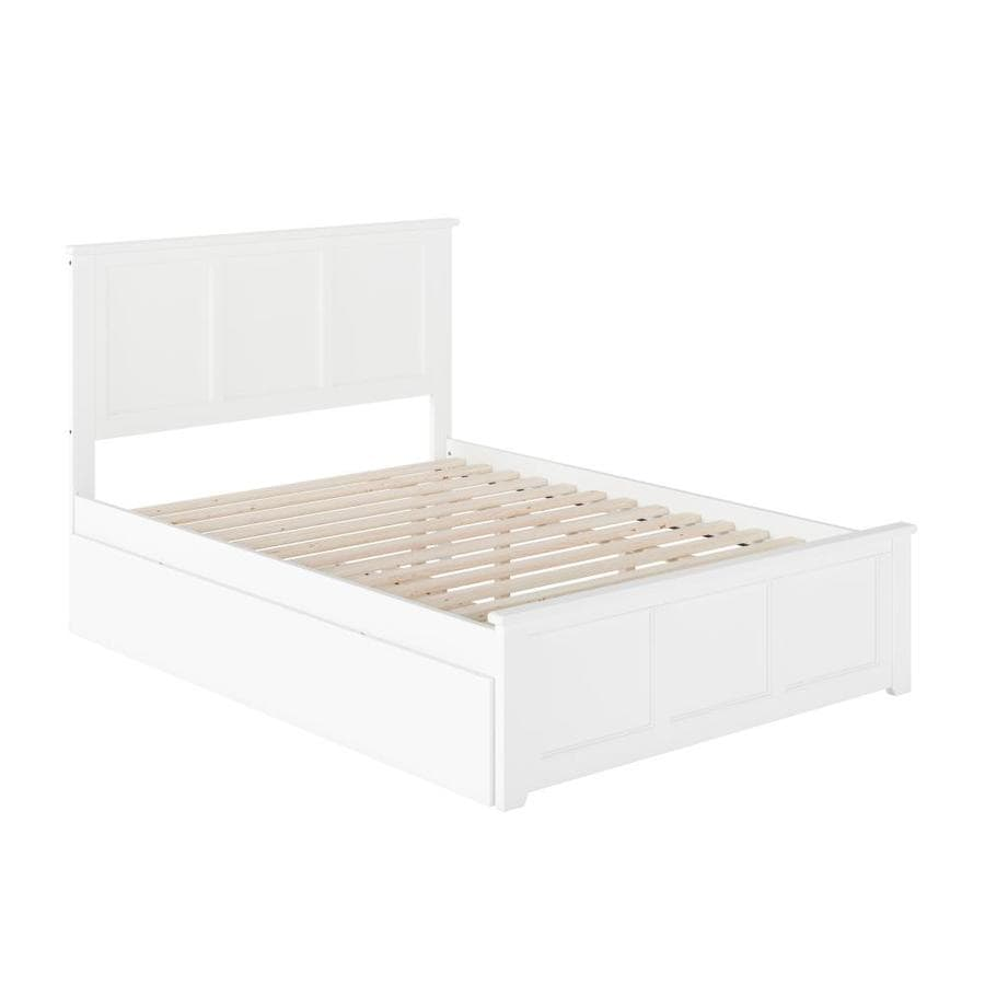 Atlantic Furniture Madison Full Platform Bed With Matching Foot Board With Twin Size Urban Trundle Bed In White In The Beds Department At Lowes Com