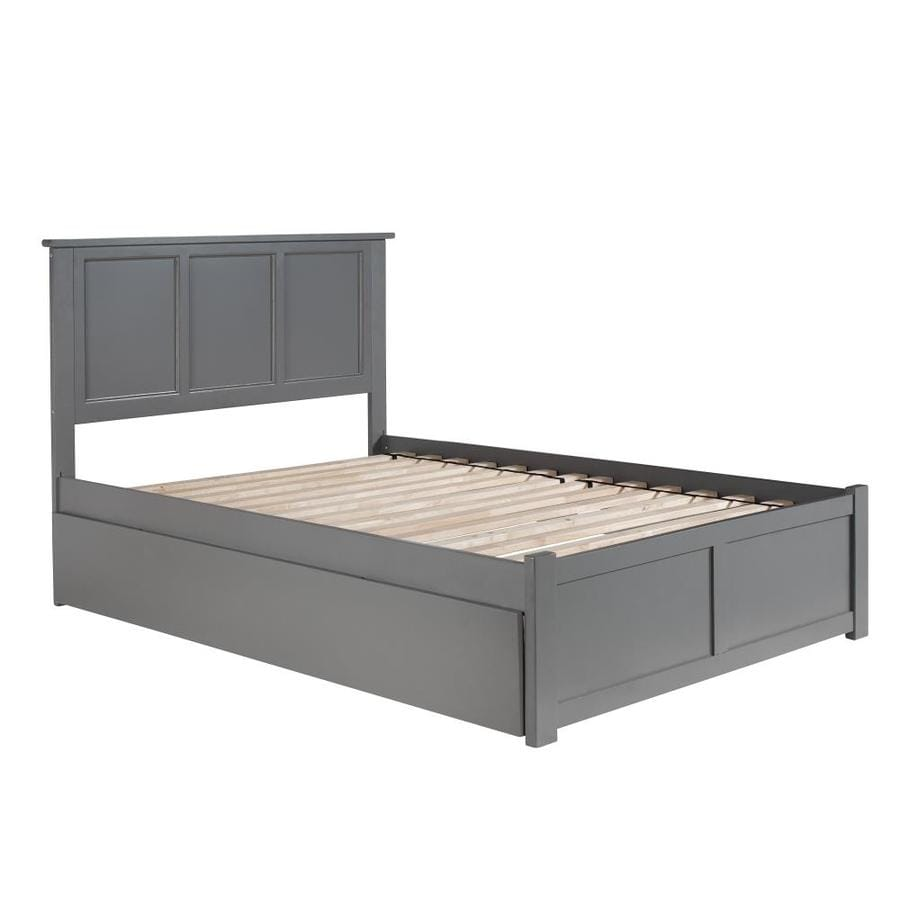 Atlantic Furniture Madison Full Platform Bed With Flat Panel Foot Board And Twin Size Urban Trundle Bed In Grey In The Beds Department At Lowes Com