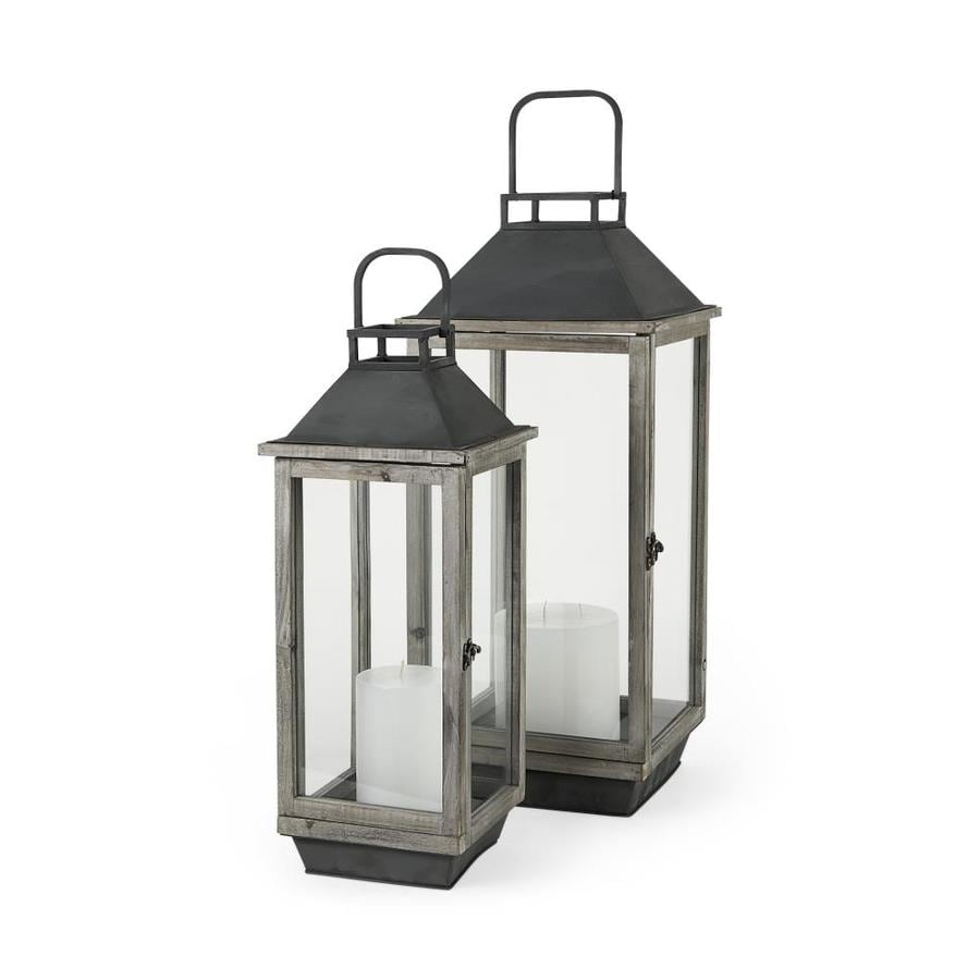 Mercana 27 In Brown Wood Metal Candle Holder Lanterns Tabletop Decoration In The Tabletop Decorations Department At Lowes Com