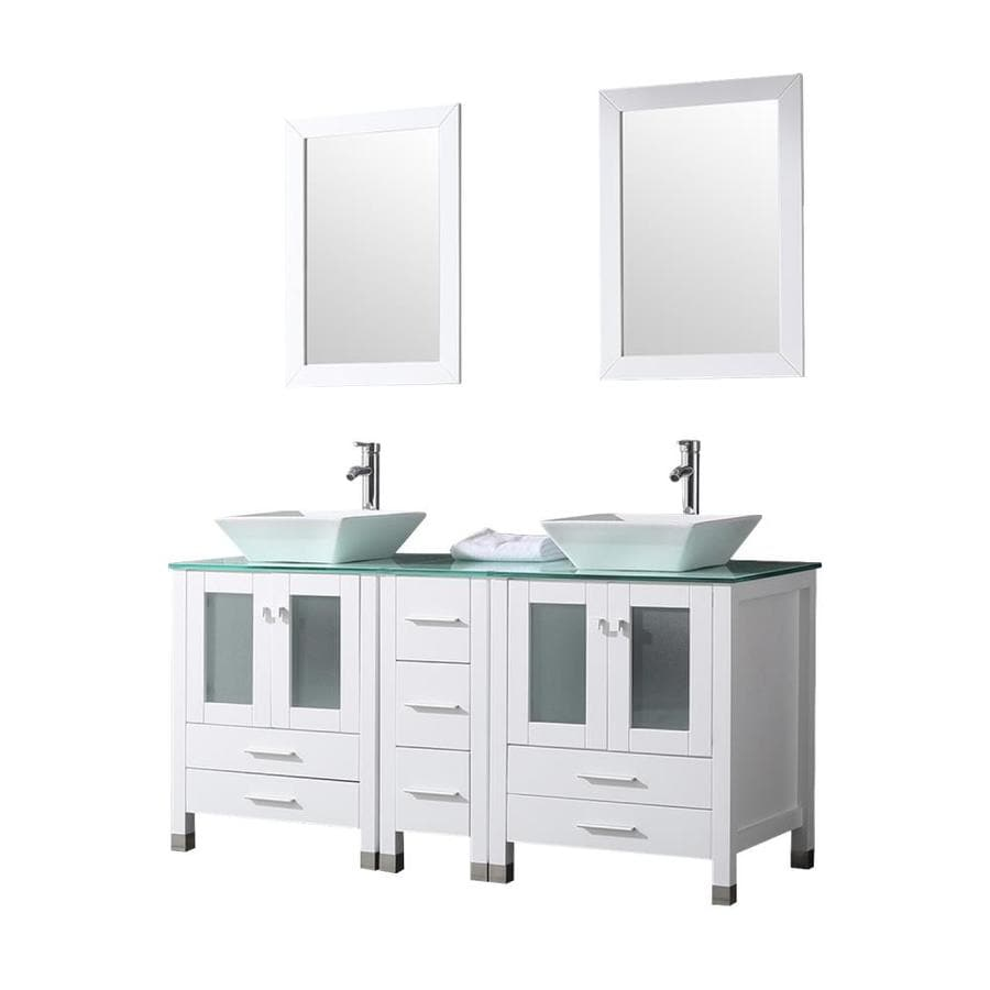 Wonline 60 In White Drop In Double Sink Bathroom Vanity With White Wood Top Mirror And Faucet Included In The Bathroom Vanities With Tops Department At Lowes Com