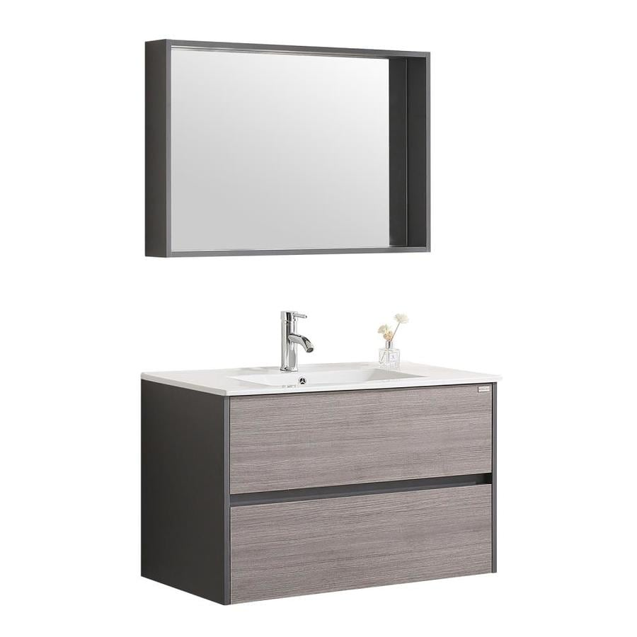 Wonline 24 In Bathroom Vanity Set 36 In Walcut Single Sink Bathroom Vanity With Walcut Wood Top Mirror And Faucet Included In The Bathroom Vanities With Tops Department At Lowes Com