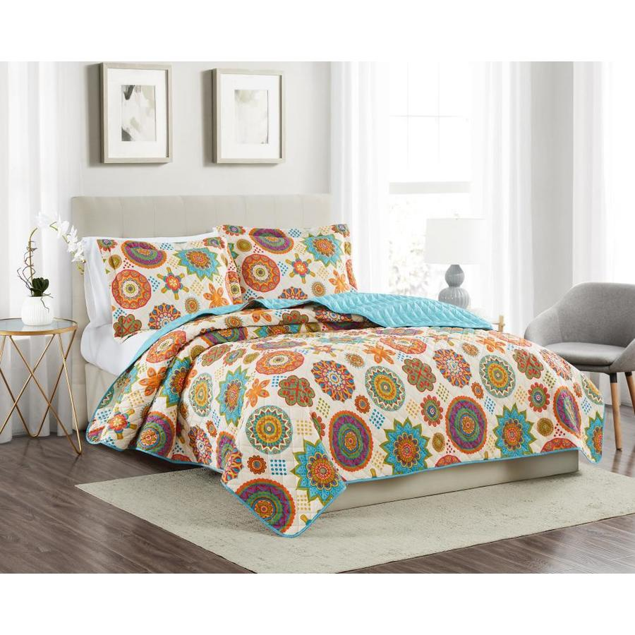 Olivia Gray Greenwich 3 Piece Reversible Quilt Set Green Beige Black Geometric Reversible King Quilt Microfiber In The Comforters Bedspreads Department At Lowes Com