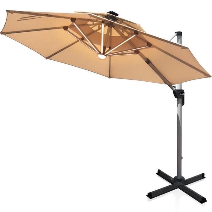 casainc 12 ft solar powered crank cantilever patio umbrella