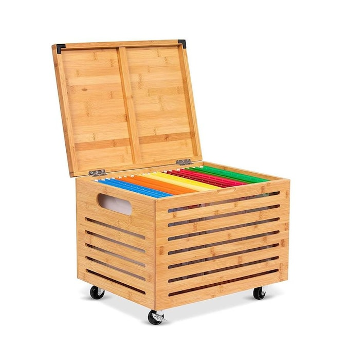 Birdrock Home Bamboo Rolling File Storage Organizer Box With Lid Decorative Wood Hanging Filing And Office Letter Legal Strong Durable Toys Blankets Pillow Binder Natural In The Cabinets