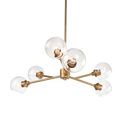 Lnc 6 Light Antique Gold And Mouth Blown Clear Glass Chandelier In The Chandeliers Department At Lowes Com