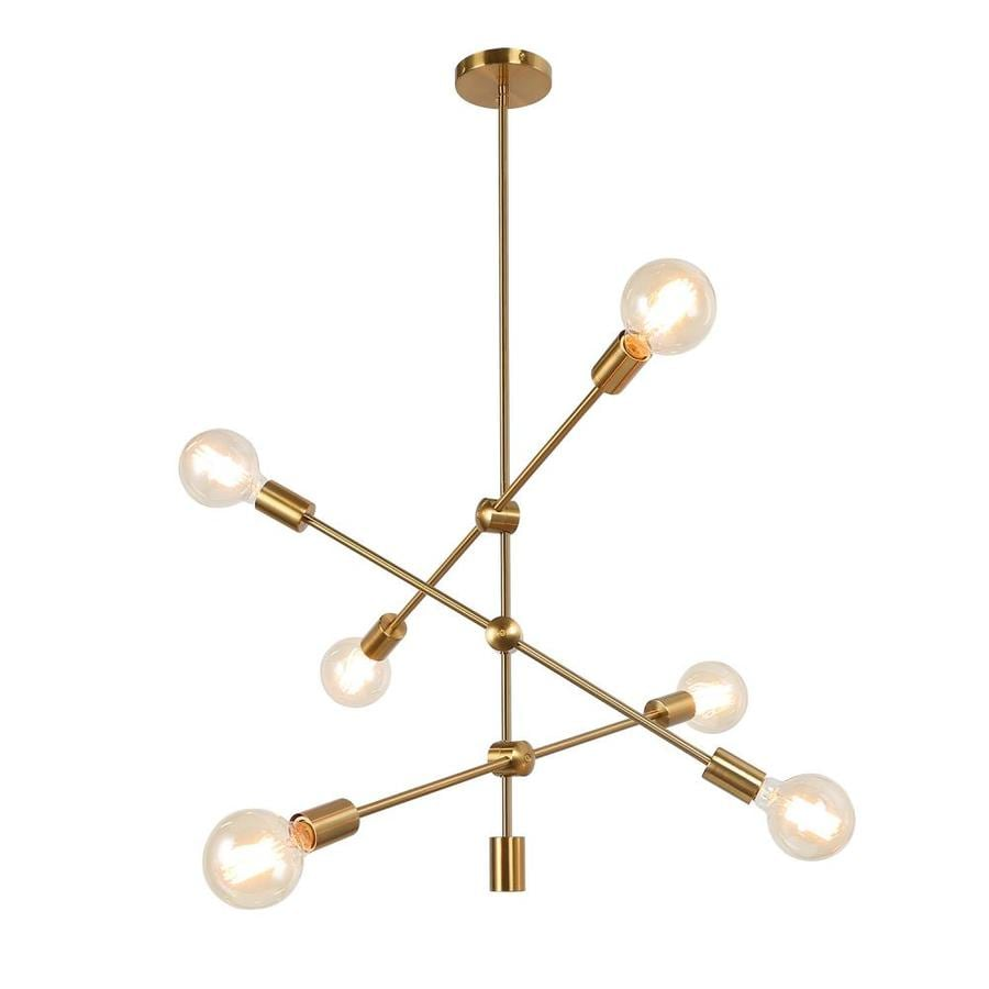 Laluz 6 Light Polished Brass Sputnik Modern Chic Geometric Metal Linear Led Chandelier In The Chandeliers Department At Lowes Com