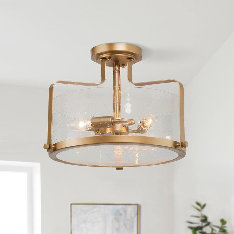 Lnc Titus 10 5 In Gold Modern Contemporary Led Semi Flush Mount Light In The Flush Mount Lighting Department At Lowes Com