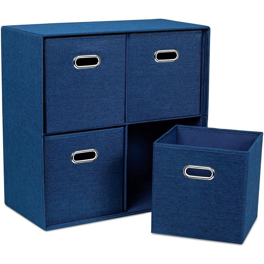 Birdrock Home Birdrock Home Navy Linen Cube Organizer Shelf With 4 Storage Bins 8211 Strong Durable Foldable Shelf 8211 Kid Toy Clothes Towels Cubby 8211 Collapsible Bedroom Fabric Shelves And Cubes In
