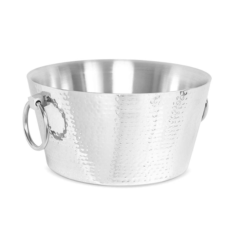 Birdrock Home Birdrock Home Hammered Double Wall Round Beverage Tub 3 Gallons Stainless Steel Ice Bucket Metal Drink Cooler House Party Handles Small Container In The Ice Buckets Department At Lowes Com