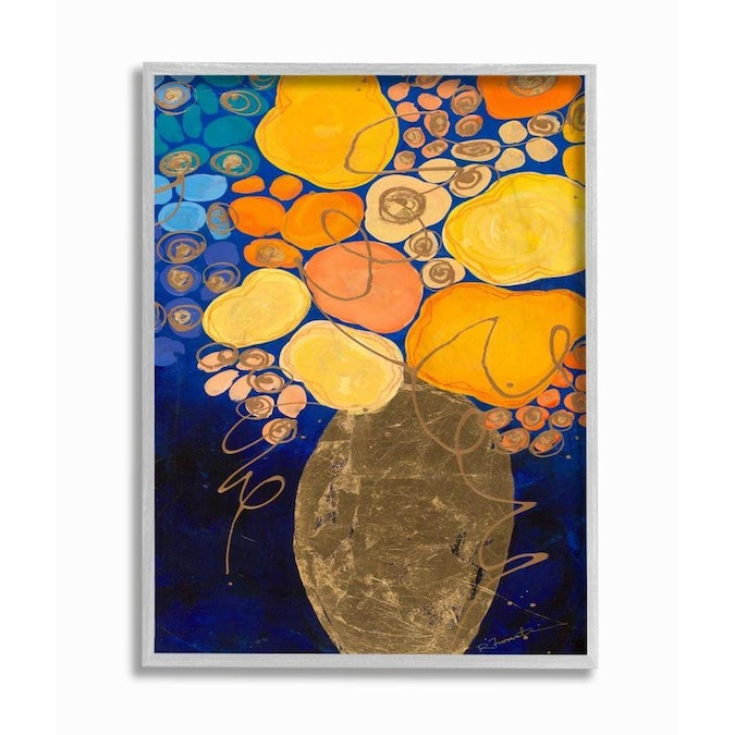 Stupell Industries Summer Floral Abstract Blue Orange Yellow Framed 14 In H X 11 W Wood Print The Wall Art Department At Lowes Com