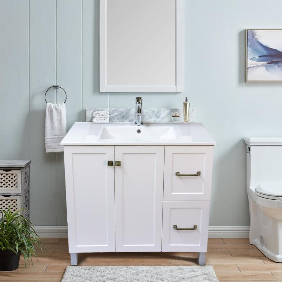 Dreamwerks Dreamwerks 30 W X 18 D X 33 H Vanity In Pearl White Wood Finish With Ceramic Vanity Top And Mirror In The Bathroom Vanities With Tops Department At Lowes Com