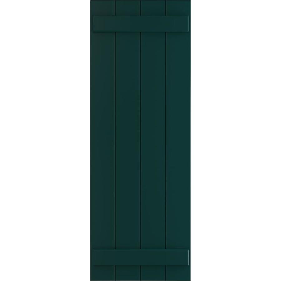 Ekena Millwork 21 1 2 In W X 54 In H True Fit Pvc Four Board Joined Board N Batten Shutters Thermal Green Per Pair Hardware Not Included In The Exterior Shutters Department At Lowes Com