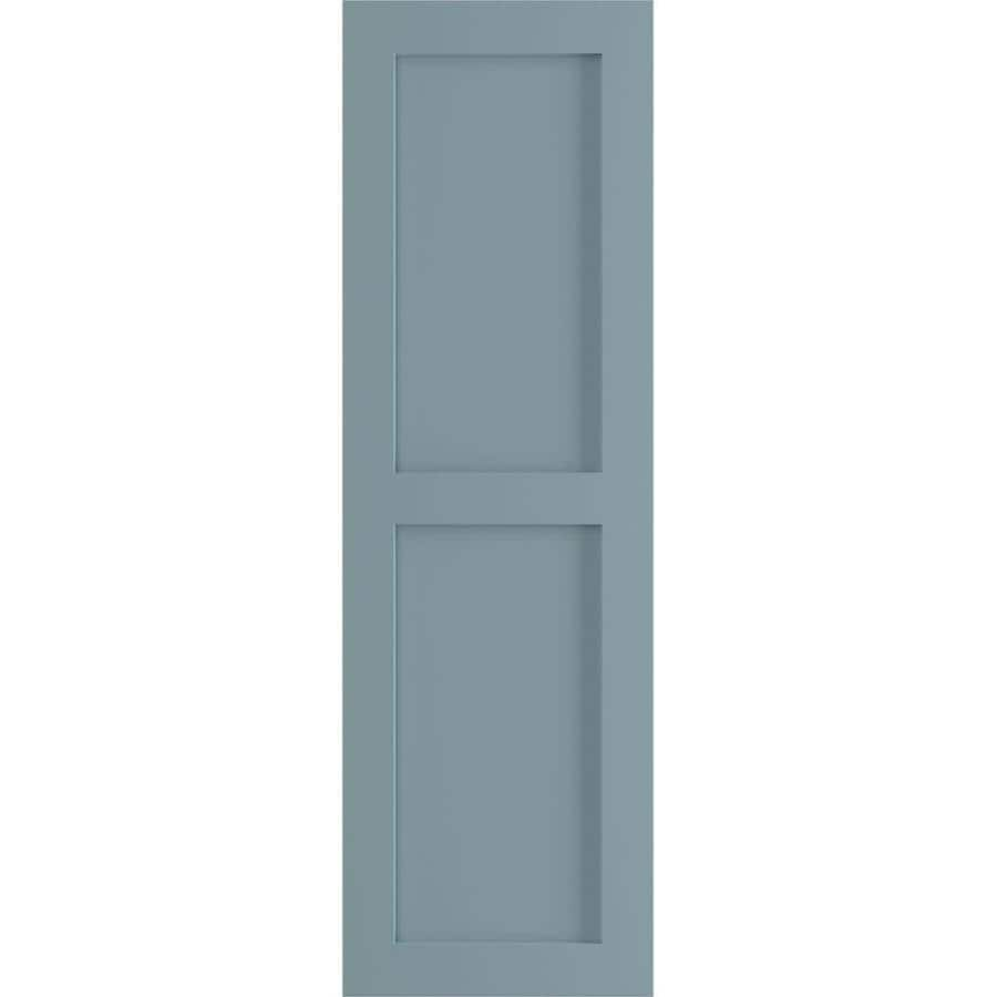 Ekena Millwork 12 In W X 62 In H True Fit Pvc Two Equal Flat Panel Shutters Peaceful Blue Per Pair Hardware Not Included In The Exterior Shutters Department At Lowes Com