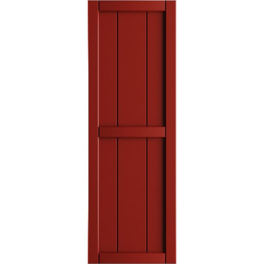Ekena Millwork 16 1 8 In W X 78 In H True Fit Pvc Three Board Framed Board N Batten Shutters Fire Red Per Pair Hardware Not Included In The Exterior Shutters Department At Lowes Com