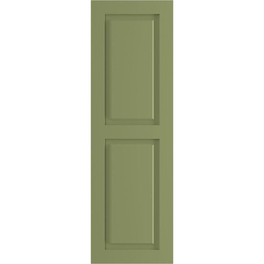 Ekena Millwork 12 In W X 64 In H True Fit Pvc Two Equal Raised Panel Shutters Moss Green Per Pair Hardware Not Included In The Exterior Shutters Department At Lowes Com