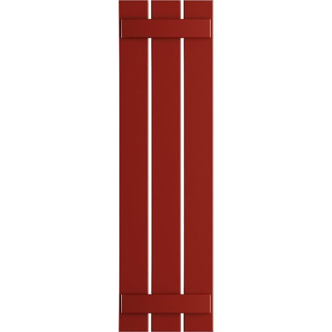 Ekena Millwork 17 1 8 In W X 46 In H True Fit Pvc Three Board Spaced Board N Batten Shutters Fire Red Per Pair Hardware Not Included In The Exterior Shutters Department At Lowes Com