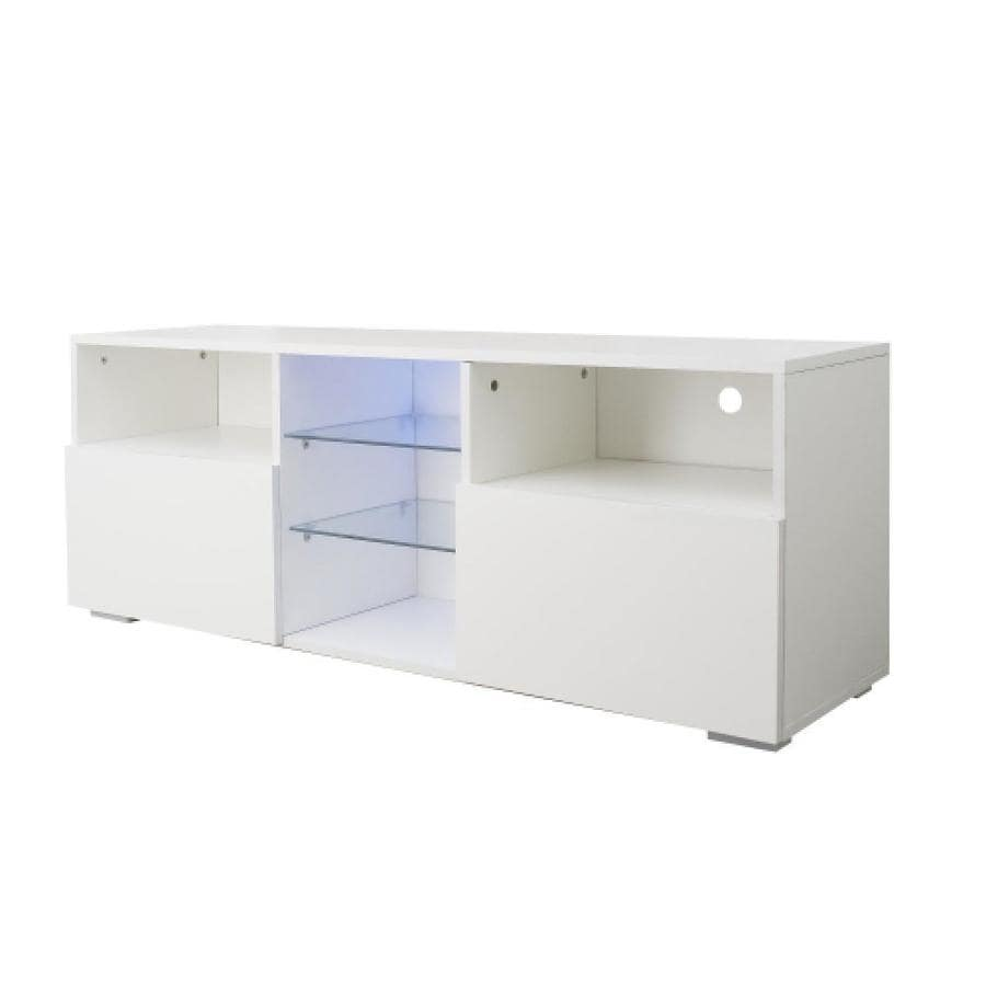 Gzmr Modern Minimalist Tv Cabinet Living Room With 20 Colors Led Lights Tv Stand Entertainment Center White Modern High Gloss Led Tv Cabinet Simpleness Creative Furniture Tv Cabinet In The Tv Stands Department At