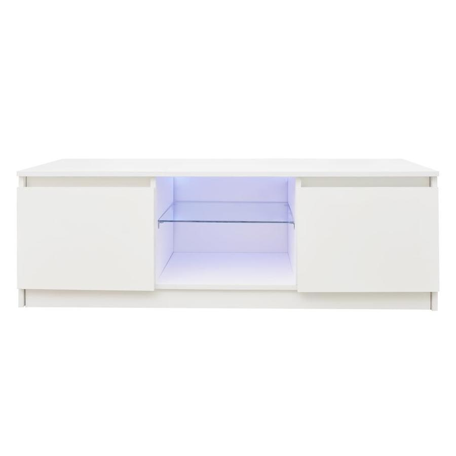 Gzmr Tv Cabinet Wholesale White Tv Stand With Lights Modern Led Tv Cabinet With Storage Drawers Living Room Entertainment Center Media Console Table In The Tv Stands Department At Lowes Com