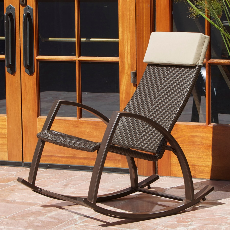 Delightful RST Outdoor Espresso Aluminum Woven Seat Outdoor Rocking Chair