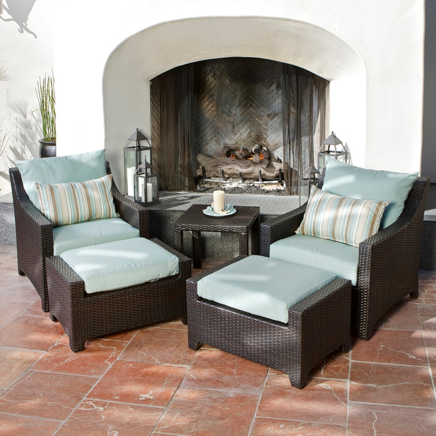 RST Brands Deco 5 Piece Wicker Frame Patio Conversation Set With Bliss Blue  Cushions