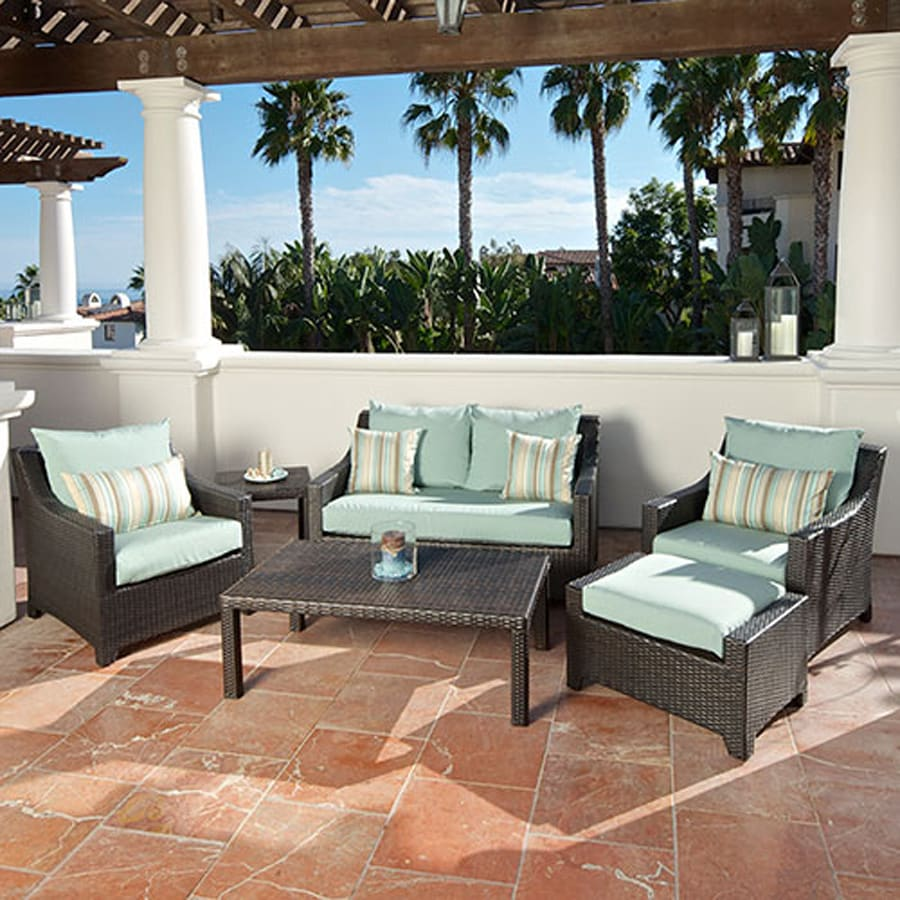 Shop rst brands deco 6 piece wicker patio conversation set for Patio furniture sets