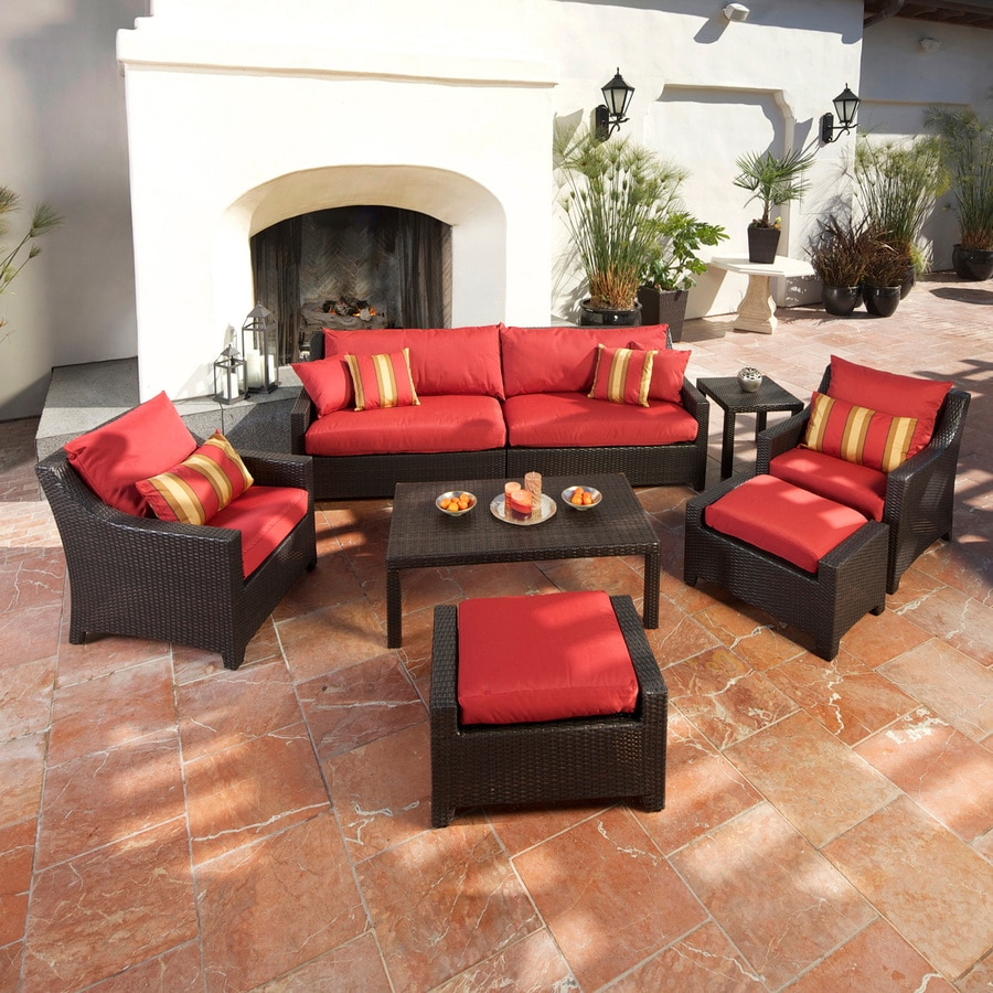 RST Brands Deco Cantina Red 8-Piece Wicker Patio Conversation Set