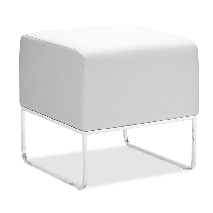 Zuo Modern White Faux Leather Ottoman