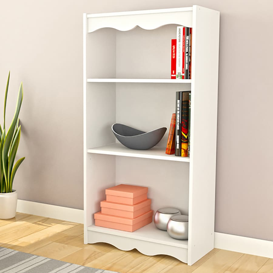 CorLiving Hawthorn Frost White 3-Shelf Bookcase