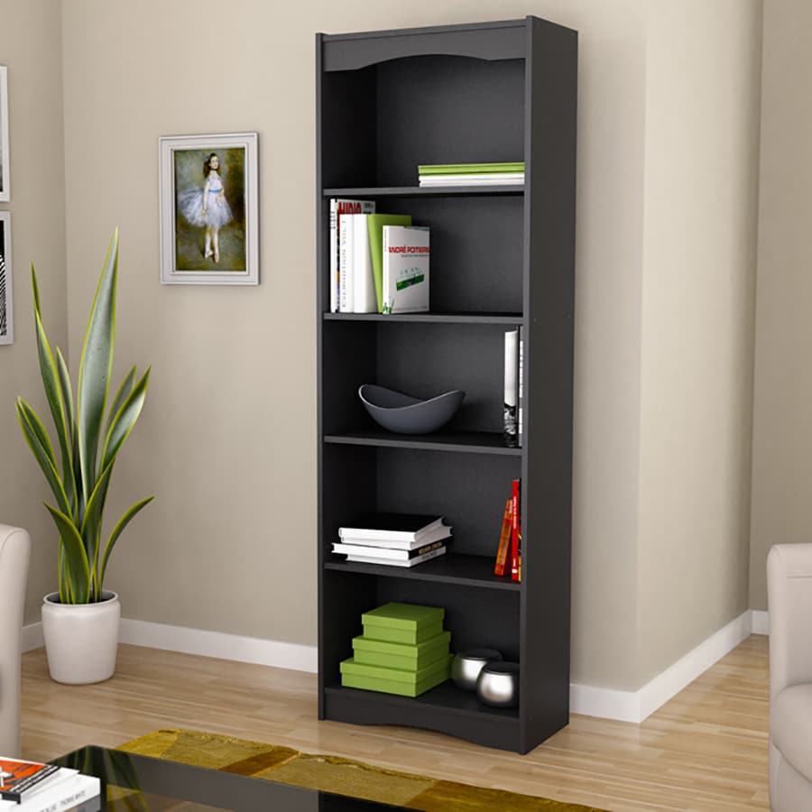 CorLiving Hawthorn Midnight Black 5-Shelf Bookcase